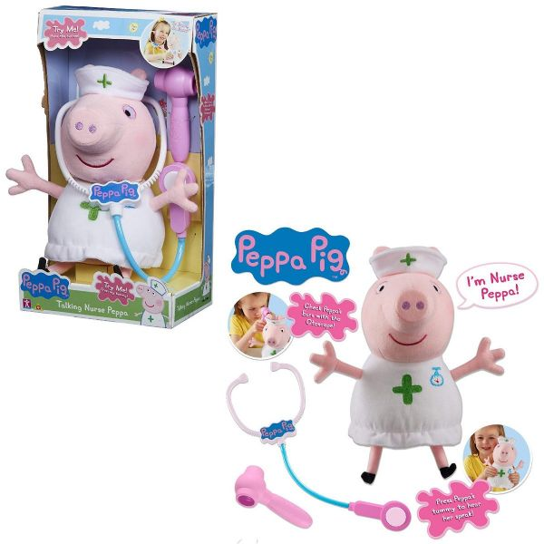 Peppa Pig Talking Nurse Peppa Soft Plush Toy Playset Doll